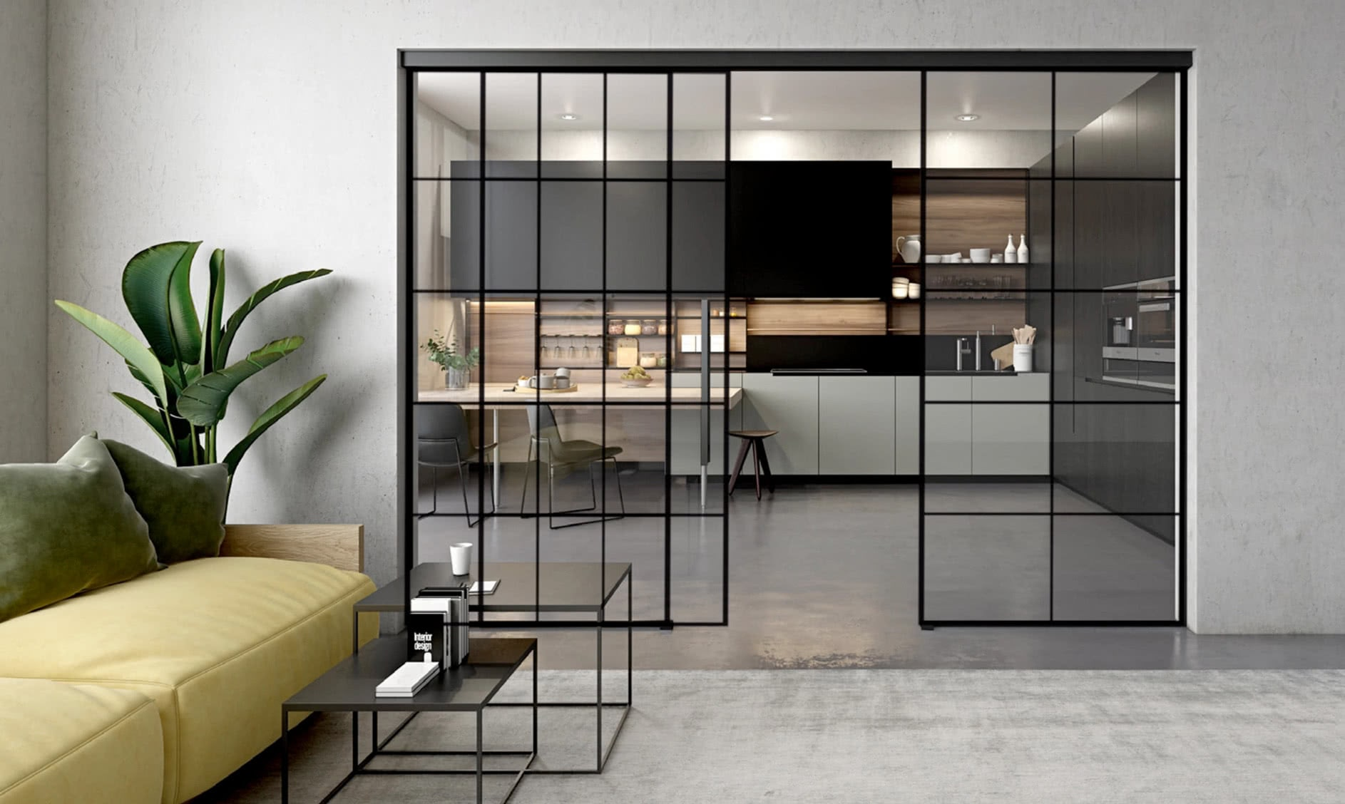 Modern Loft Style Glass Sliding Doors