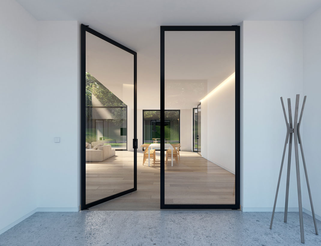 "Pivot Doors Model ""SVING"" Double glass door"