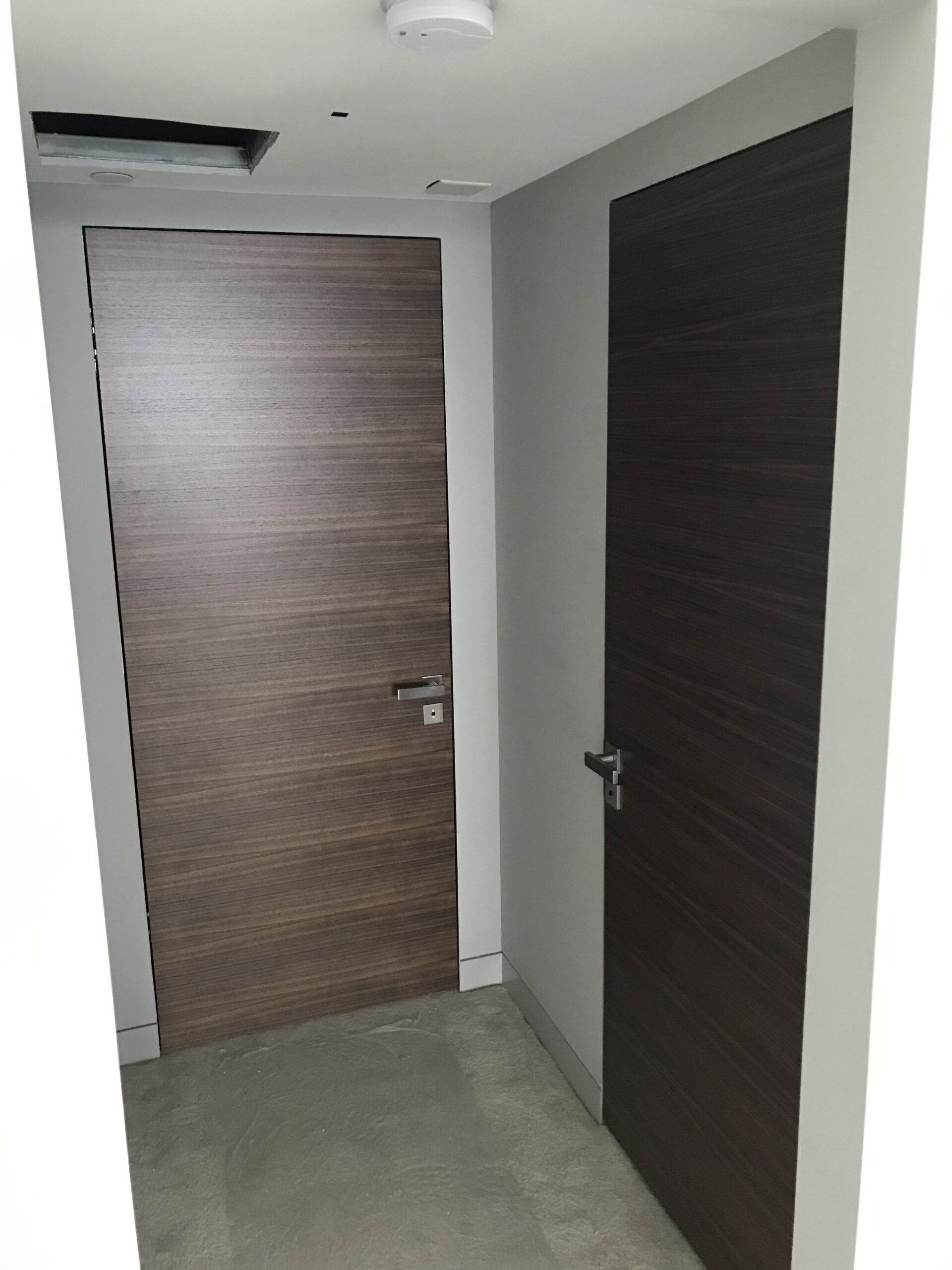 Flush with the wall interior doors