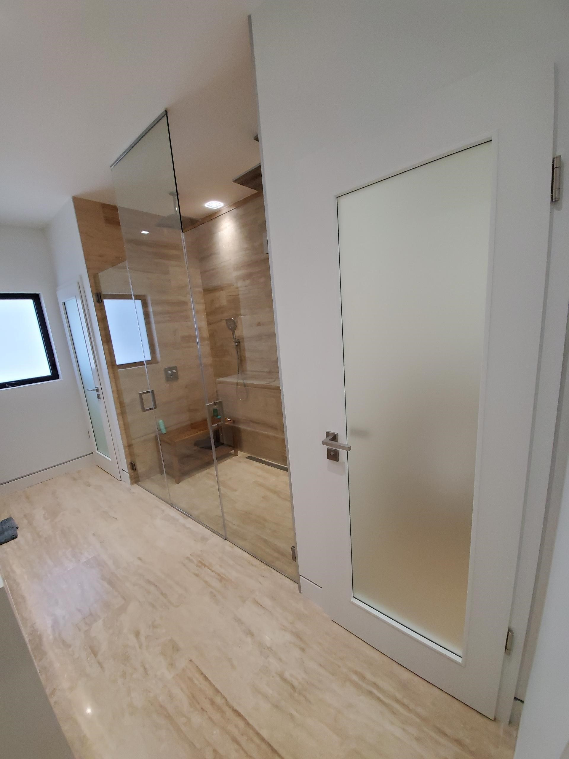Swing Door with Frosted Glass